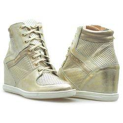 Sneakersy Eksbut 77-4451-F98/672 Złote przecierane