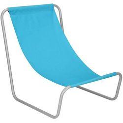 Leżak plażowy, leżanka składana metalowa niebieska