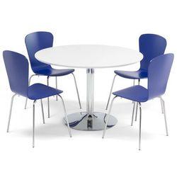 Zestaw mebli do stołówki, stół Ø1100 mm biały, chrom + 4 niebieskie krzesła