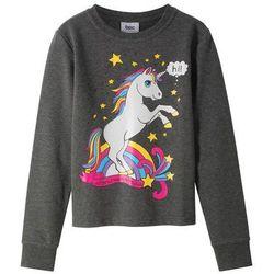 Bluza dresowa dziewczęca bonprix antracytowy melanż z nadrukiem