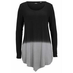 Shirt z dołem w szpic i efektem cieniowania bonprix czarno-szary