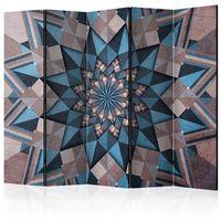 Pozostałe dekoracje, Parawan 5-częściowy - Gwiezdna mandala (brązowo-niebieski) II [Room Dividers]