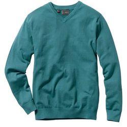 Sweter z dekoltem w serek Regular Fit bonprix niebieskozielony morski