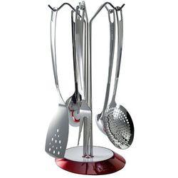 Casa bugatti - glamour - zestaw 5 przyborów na stojaku czerwonym