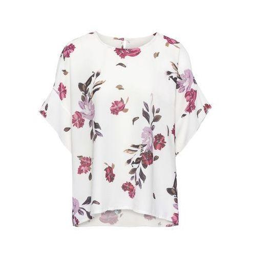 Bluzki, Bluzka z nadrukiem bonprix biel wełny w kwiaty