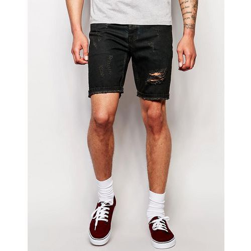 Pozostała odzież męska, ASOS Denim Shorts In Slim With Rip And Repair Detail - Black