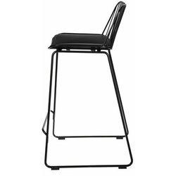 Krzesło barowe Dill Low czarne z czarną poduszką - 66 \ czarny