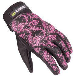 Damskie skórzane rękawice motocyklowe W-TEC Malvenda NF-4208, Czarny z różową grafiką, XS