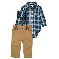 Carter's BOY HOLIDAY PLAID SUSPENDER PANT BABY SET Spodnie materiałowe green
