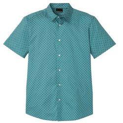 Koszula z krótkim rękawem i nadrukiem Slim Fit bonprix matowy kobaltowy z nadrukiem
