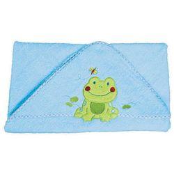 Okrycie kąpielowe z kapturem 76x76 cm BabyOno, niebieskie z żabką - niebieski / żabka