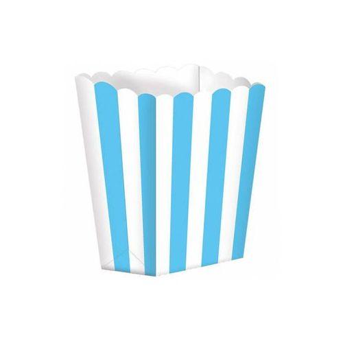 Pozostałe wyposażenie domu, Pudełka na popcorn w biało-błękitne paski - 5 szt.