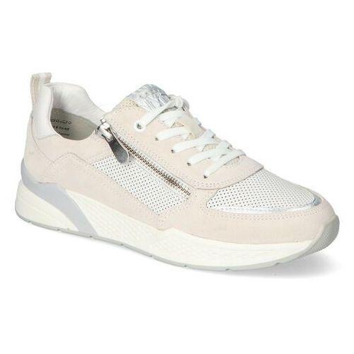 Damskie obuwie sportowe, Sneakersy Marco Tozzi 2-23735-26 Białe/Beżowe zamsz