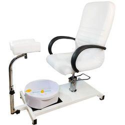 Fotel do pedicure masażerem stóp Kosmetyczny BIAŁY