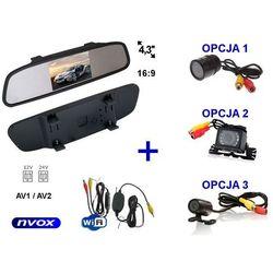 """Zestaw Monitor LCD 4,3"""" w lusterku wstecznym 12V 24V Samochodowa kamera cofania i Bezprzewodowy moduł WiFi"""