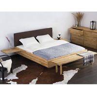 Łóżka, Podwójne łóżko drewniane ze stelażem 180x200 cm, brązowe ARRAS