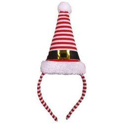 Opaska z czapką Śnieżynki w paski 11 x 19 cm - ozdoby i dekoracje świąteczne