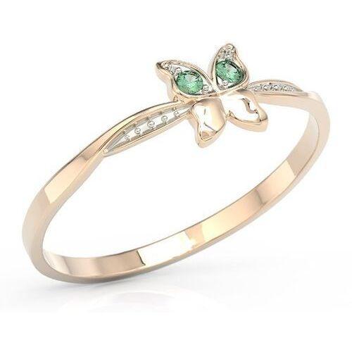 Pierścionki i obrączki, Pierścionek motylek z różowego złota z zielonymi cyrkoniami bp-88p-r-c