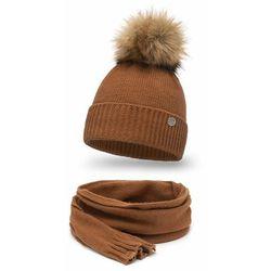Elegancki komplet, czapka i szalik - Karmel