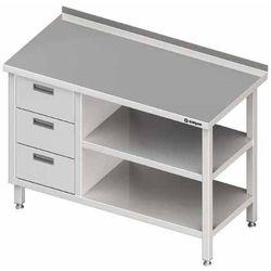 Stół przyścienny z blokiem trzech szuflad po lewej stronie i dwiema półkami 1800x700x850 mm | STALGAST, 980407180