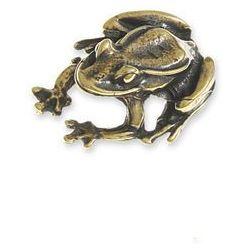 FIGURKA MAŁA ŻABKA talizmany symbole chińskie kolor stare złoto orient