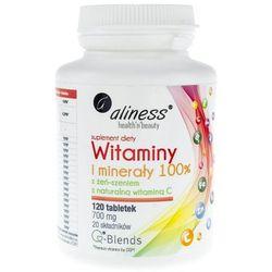 Witaminy i minerały 100%, 120 tabletek Aliness