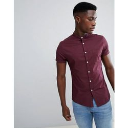 ASOS DESIGN casual skinny oxford shirt with grandad collar in burgundy - Red