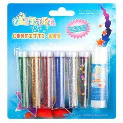 Brokat sypki 5 kolorów + Confetti + klej 9g - Starpak