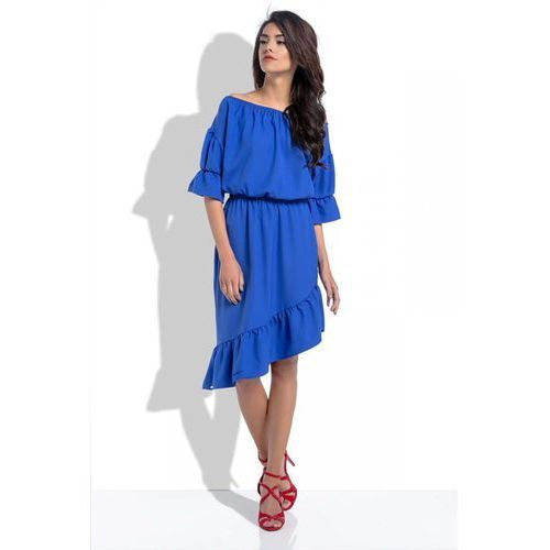 Suknie i sukienki, Chabrowa Asymetryczna Sukienka Hiszpanka z Rękawami do Łokcia
