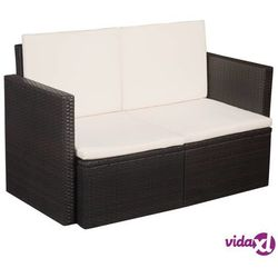 vidaXL 2-osobowa sofa ogrodowa z poduszkami, polirattan, brązowa Darmowa wysyłka i zwroty
