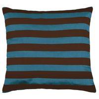 Poduszki, Bellatex Poduszka - jasiek Leona – prążki brązowa, niebiesk, 45 x 45 cm
