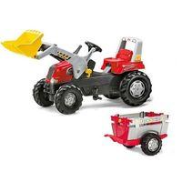 Traktory dla dzieci, Rolly Toys Traktor Junior Czerwony z Przyczepą Łyż