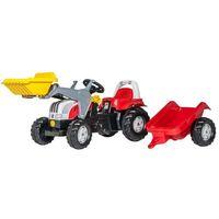 Traktory dla dzieci, Rolly Toys Traktor czerwony Rolly Kid z łyżką i przyczepą
