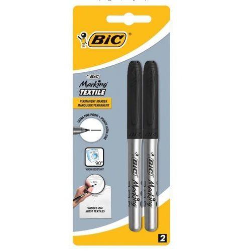 Markery, Marker do tekstyliów 0,9mm czarny Blister 2szt
