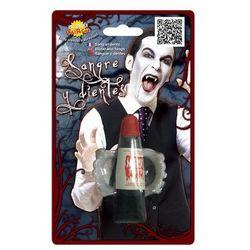 Zęby wampira z krwią na Halloween