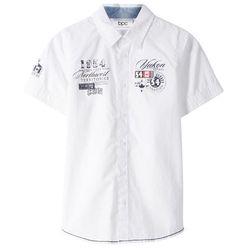 Koszula z krótkim rękawem Slim Fit bonprix biały z nadrukiem