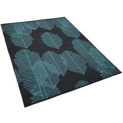 Dywan na zewnątrz ciemnoszary wzór liści 160 x 230 cm dwustronny MEZRA