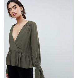ASOS DESIGN TALL Oversized Wrap Blouse with Dip Hem - Green