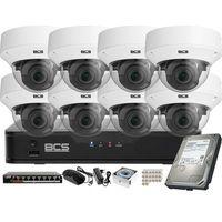Kamery przemysłowe, Monitoring wideo audio kasy stacji paliw sklepu BCS Point Rejestrator 8kan. IP 8x Kamera BCS-P-262R3WSA Akcesoria