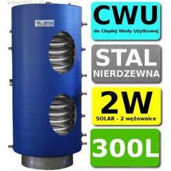 CHEŁCHOWSKI 300L 2-wężownice Nierdzewka Solar, 2W Zbiornik Zasobnik Wymiennik Bojler, Nierdzewna Stal, Wysyłka GRATIS