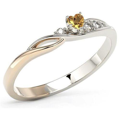 Pierścionki i obrączki, Pierścionek z białego i różowego złota z topazem Swarovski Honey i brylantami BP-81BP - Białe i różowe \ Diament ||Topaz Honey