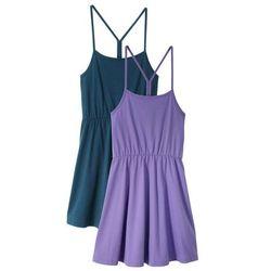 Sukienka letnia dziewczęca (2 szt. w opak.) bonprix lila + ciemnoniebieski