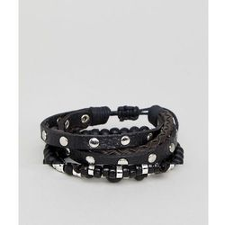 ASOS Studded Leather And Bead Bracelet Pack In Burnished Silver - Black