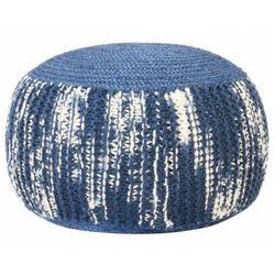 Niebieska pufa okrągła wełniana ręcznie pleciona - Hatino 3X