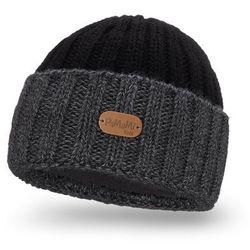 Dwukolorowa czapka dziecięca z wywinięciem PaMaMi - Ciemnoszary