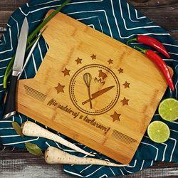 Nie zadzieraj z kucharzem - deska do krojenia z grawerem - Deska bambusowa