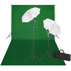 vidaXL Zestaw do studia fotograficznego: zielone tło 6 x 3 m i światła Darmowa wysyłka i zwroty