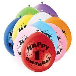 Balony pastelowe z nadrukiem jedynka 1 - mix - 23 cm - 10 szt.
