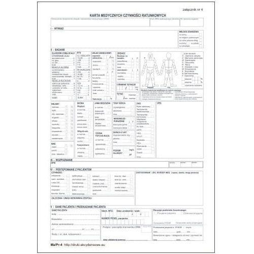 Pozostałe artykuły medyczne, Karta medycznych czynności ratunkowych / zał nr 4 [Mz/Pr-4]