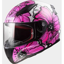 KASK LS2 FF353 RAPID POPPIES WHITE PINK